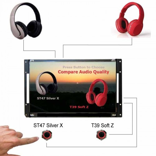 LCD Video Player with Audio Headphone and Soundbar Demonstrator.
